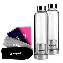 Bruntmor, Set of 2 Borosilicate Glass Water Infuser Bottle 1