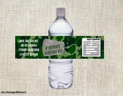 Army Military Camoflauge Birthday Party Favors Water Bottle
