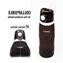 Bend-It Athletes Collapsible Black Water Bottles with Lids,