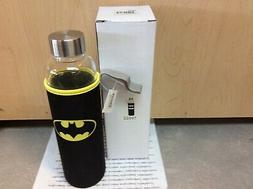 BATMAN GLASS WATER BOTTLE SPOONTIQUES NEW 20 OZ WITH TAG & G