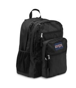 JanSport Big Student Black Backpack Ergonomic S-Curve Side W