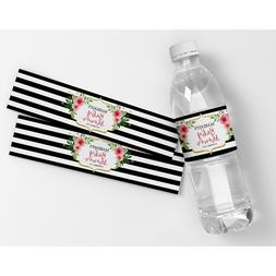Black and White Stripes w/Flowers Customized Party Water Bot