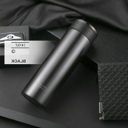 Black Gray Water Bottle Stainless Steel Vacuum Cup Thermos F