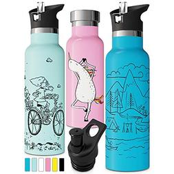 Blue Insulated Water Bottle with Straw Sports Cap Double Wal