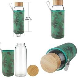 Borosilcate Glass Water Bottle Wide Mouth W Bamboo Lid 32 Oz