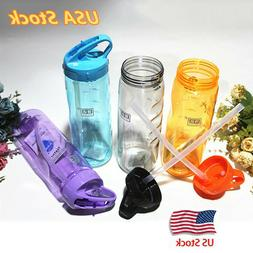 BPA Free Leak Proof Flip Straw Drink Sport Water Bottle For