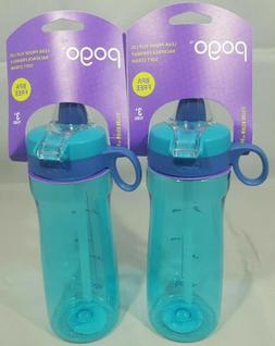 Pogo BPA-Free Plastic Water Bottle, Soft Straw,18oz.