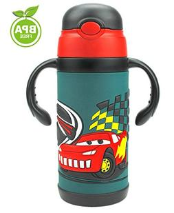 LOLOOP 13oz Cartoon Cars Water Bottle for Kids,18/8 Stainles