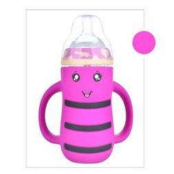 Cartoon Wide Mouth Glass Milk Bottle Kids Anti-Colic Water B