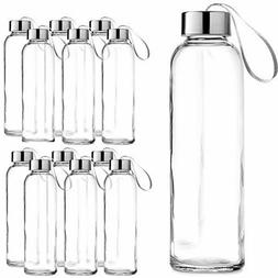 Chef's Star Glass Water Bottle 12 Pack 16oz with Stainless S