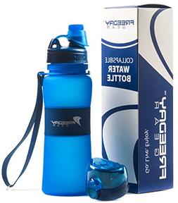 Freeday Gear Collapsible Water Bottle - 2 Leakproof Lids - 1