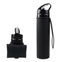 Collapsible Water Bottle Silicone Black Folding Bottle with