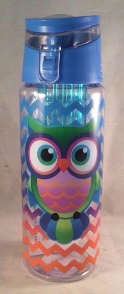 Colorful OWL Acrylic Flip Top Infuser Water Bottle, 16 oz, b