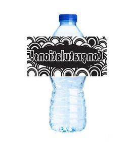 Congratulations Black & White Party Water Bottle Label S