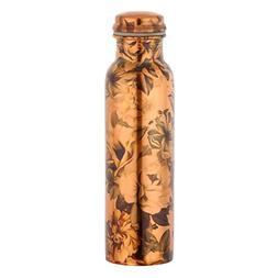 Pure Copper Flower Printed Water Bottle for Ayurvedic Health