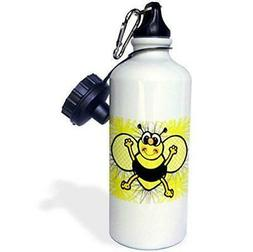 3dRose Cute Country Smiling Bee-Sports Water Bottle, 21oz ,