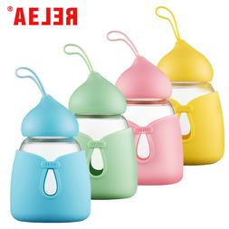 RELEA Cute Glass Water Bottle with Silicone Sleeve, 12 oz