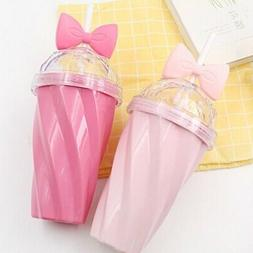 400ML Cute Portable Bow Cup with Straw Sport Plastic Fruit J