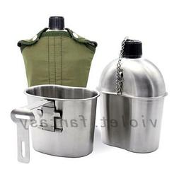 Durable Stainless Steel Army Military Water Bottle Canteen+G