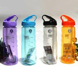 Flip Straw Drinks Sport Hydration Water Bottle Running Cycli