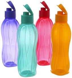 New   Tupperware Flip Top Water Bottle Set, 750ml, Set of 4,