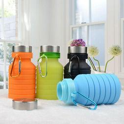 Foldable Reusable 550ml Collapsible Silicone Bottle Outdoor