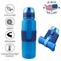 Foldable Soft Collapsible Silicone Water Bottle Reusable Cli