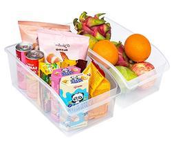 Honla Set of 2 Freezer Bins,Refrigerator Organizer Trays,Lar