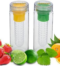 Set of 2 Nayoya Fruit Infused Infuser Water Bottles - 28 Oun
