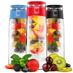 Vremi 24 oz Fruit Infused Water Bottle - BPA Free Sports Wat