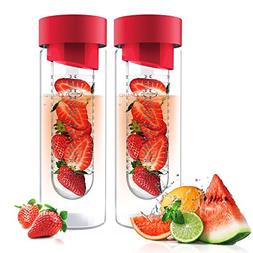 Fruit Infuser Glass Flavor it Water Bottle for Naturally Fla