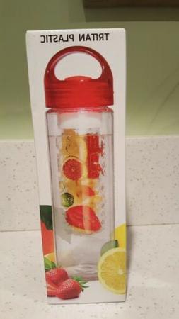 Fruit Infuser Water Bottle 24 Oz BPA Free Tritan Plastic Hyd