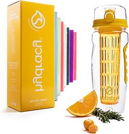 Hydracy Fruit Infuser Water Bottle - 32 Oz Sports Bottle wit