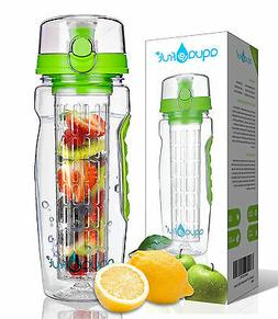 AquaFrut 32oz Fruit Infuser Water Bottle  Includes Bonus Bru