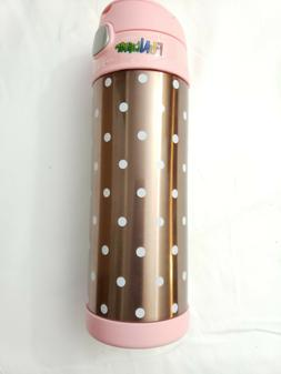 Thermos Funtainer 16 OZ Water Bottle Rose with Polka Dots