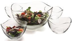Circleware 55635 Set of 5 Wavy Glass Mixing Bowls Set, Home
