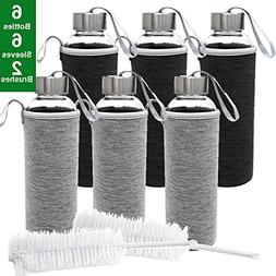 Jalousie Glass 2018 New Upgraded Water Bottle 6 Pack 18oz Tr
