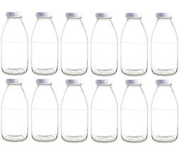 Nakpunar 12 pcs 10 oz Glass Bottle with White Lids
