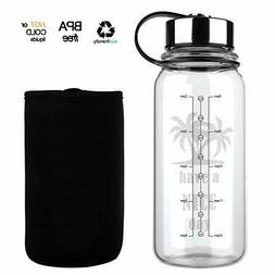 Glass Water Bottle 32 Oz Wide Mouth Glass Water Bottle with