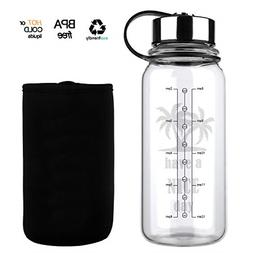 Glass Water Bottle 32 Oz, Wide Mouth Glass Water Bottle with