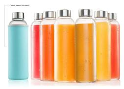 Glass Water Bottle 6 Pack 18oz Bottles With 6 Sleeves And St