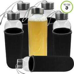 Evelots Glass Water/Juice Bottle-Sleeve-18 OZ-Easy Carry-Air