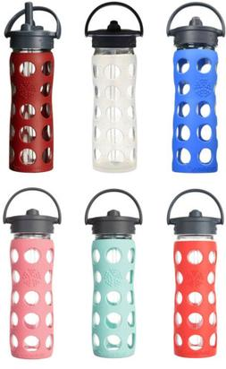 Lifefactory Glass Water Bottle w/Straw Cap & Silicone Sleeve
