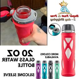 Glass Water Bottle With Flip Lid Gym Sports Travel Impact Si