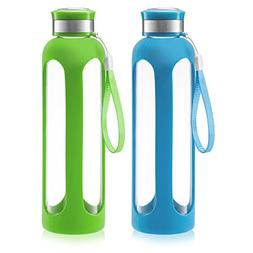 SWIG SAVVY Glass Water Bottles with Protective Silicone Slee