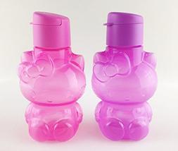 2 x TUPPERWARE HELLO KITTY Purple & Pink Flip Top Eco Bottle