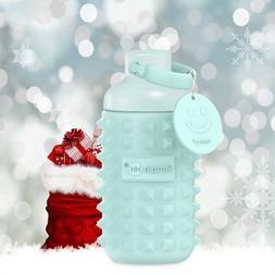 Holiday Season Leakproof Glass Wide Mouth Water Bottle with