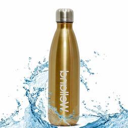 Hydro Water Bottle Flask Gold 17oz Stainless Steel Tea Juice
