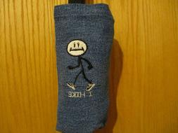 I HIKE HIKING STICK  EMBROIDERED DENIM WATER BOTTLE CARRIER