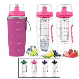 Infuser Water Bottle with Unique Full Length Infuser and Ins
